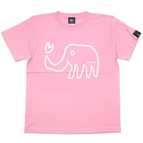 sp018tee-pi - ゾウさん Tシャツ (ピンク)-G- 桃色 象柄 アニマル ラクガキ イラスト かわいい 半袖 綿100%