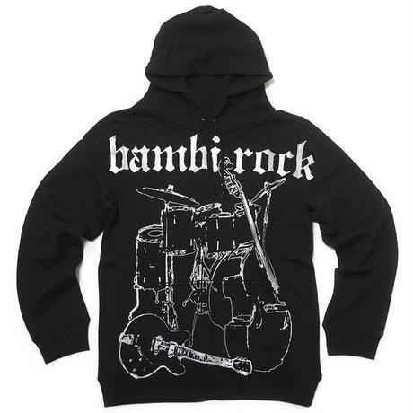 特別プライス☆ hw005pk - bambi rock フーデット ライトパーカー -G- スウェット ブラック ロックバンド ギター ベース ドラム アメカジ カジュアル