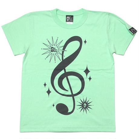 tgw016tee-me - サウンド Tシャツ (メロン) -G- 半袖 甜瓜色 ト音記号 ミュージック アメカジ カジュアル 男女兼用
