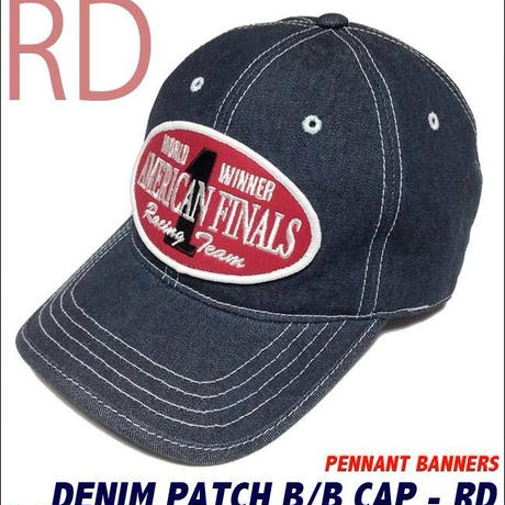 pb008-rd - デニム ワッペン ベースボール キャップ ( レッド×白ステッチ )-PENNANT BANNERS-G- CAP 帽子 野球 アメカジ ネイビー 紺色