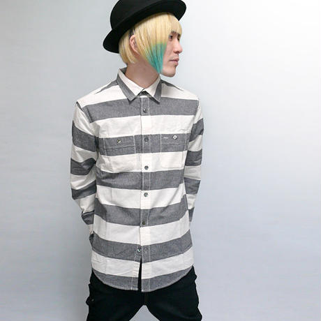 sh74213-bk01 - プリズン ボーダー シャツ(ブラック×オフ)- VINTAGE EL -G-( メンズ カジュアルシャツ ワーク 長袖シャツ )