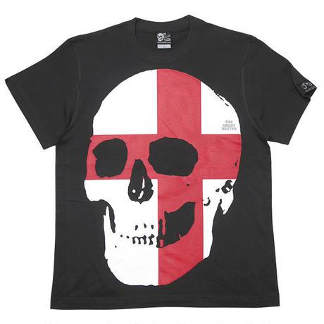 tgw041tee-sm - セント ジョージ クロス スカル Tシャツ (スミ) -G- 半袖 パンクロック ドクロ イングランド 十字旗 灰色
