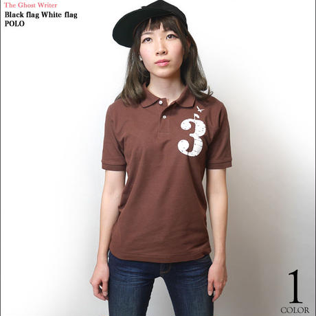 tgw031po - Black flag White flag ポロシャツ -G- POLO トップス 半袖 カジュアル アメカジ ワンポイント ブラウン 茶色