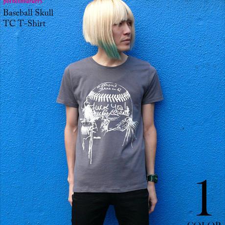 pi004tc - Baseball Skull (ベイスボールスカル) TC Tシャツ - pornoinvarders -G-( 野球 パンク ロック ドクロ 半袖 )