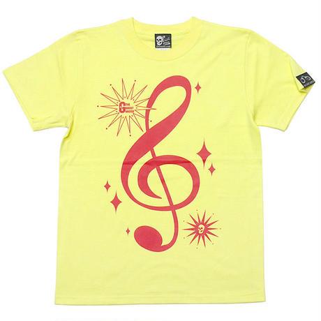 tgw016tee-lye - サウンド Tシャツ (ライトイエロー) -G- 半袖 黄色 ト音記号 音楽 アメカジ カジュアル ユニセックス