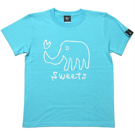 sp013tee-ab - sweets Tシャツ (アクアブルー)-G- イラスト 象 ぞうさん アニマル柄 青 水色 半袖