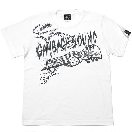 pi012tee-wh - GARBAGE SOUND (ガベージサウンド) Tシャツ (ホワイト)-G- 半袖 白色 ギター柄 ROCK パンクロックTシャツ バンドTシャツ