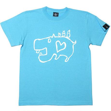 カバ Tシャツ (アクアブルー)-BPGT- sp053tee -G- イラスト 落書き 動物 かわいい アメカジ カジュアル