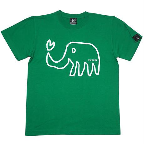 sp018tee-gr - ゾウさん Tシャツ (グリーン)-G- 緑色 ぞう アニマル 落書き イラスト かわいい 半袖 綿100%