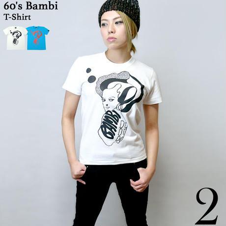 kn001tee - 60's Bambi Tシャツ - KeikoNasu 那須慶子 -G-( 60年代 モード モデル バンビ 子鹿 こじか モッズ 半袖 )