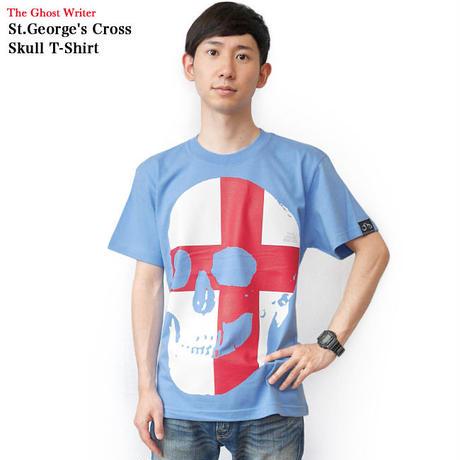 tgw041tee-sax - セント ジョージ クロス スカル Tシャツ (サックス) -G- 半袖 パンクロック ドクロ イングランド 十字旗 水色