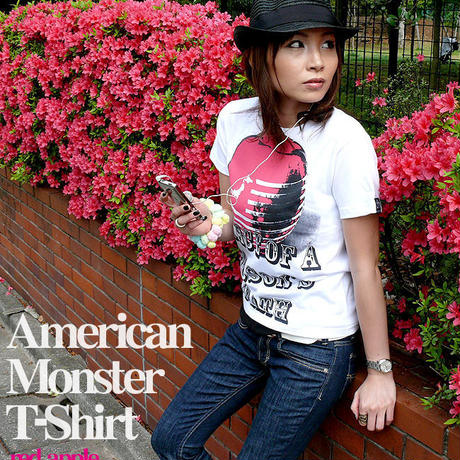 tgw033tee-rd - American Monster(red apple) Tシャツ -G- パンクロックTシャツ 林檎 リンゴ アップル