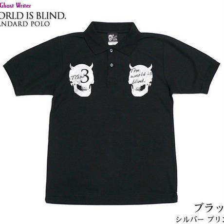 2週間セール!! tgw039spo - World is blind. スタンダード ポロシャツ -G-  Polo スカル ドクロ パンク ロック 半袖