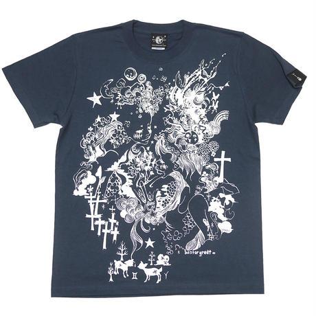 bg008tee-sl - 双子座ガール Tシャツ (スレート) -baster great-G- ふたご座 星座 かわいい カジュアル メンズ レディース 半袖