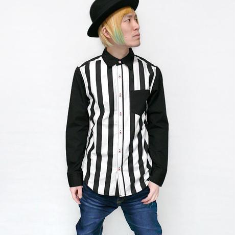 sh590357 - ストライプ×切替配色 ブロードシャツ - SUGGESTION -G-( ロングスリーブ カジュアル 長袖 )