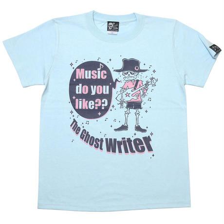 tgw002tee-lb - Music do you like?? Tシャツ (ライトブルー)-G- スカル ドクロ ロック オリジナル イラスト メンズ レディー 青色 半袖