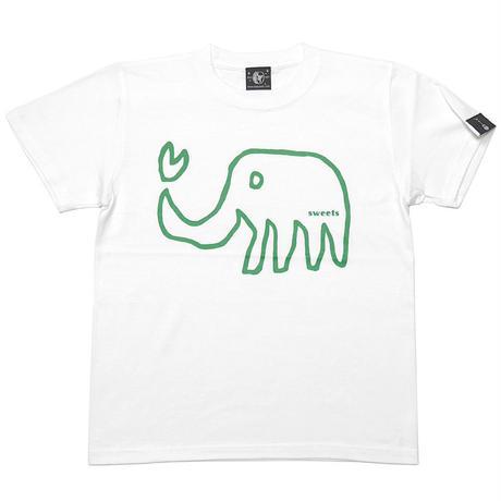 sp018tee-wh - ゾウさん Tシャツ (ホワイト)-G- 白色 ぞう アニマル 落書き イラスト 可愛い 半袖 綿100%