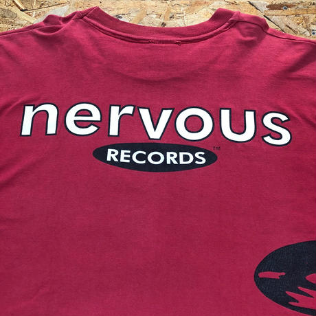 nervous RECORDS / 90's Vintage  L/S Tee size : XL