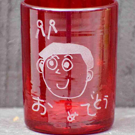 らくがきガラス(ロックグラス暖色系)