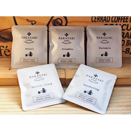NAKAZAKI COFFEE ROASTER :ドリップバック5枚セット(5種類×各1枚)