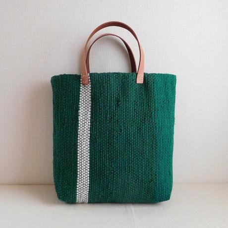 裂き織りバッグ グリーングラデーション