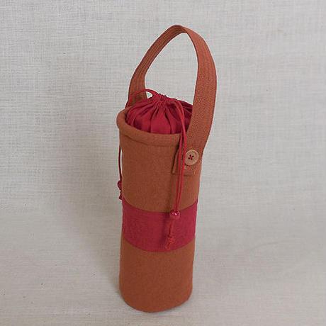 保温マグボトル 水筒ケース だいだい色+赤