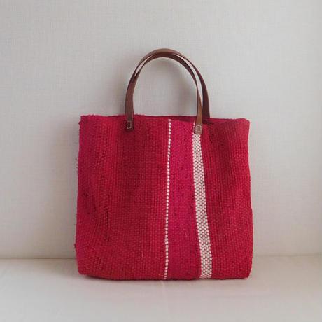 裂き織りバッグ 赤×ライン