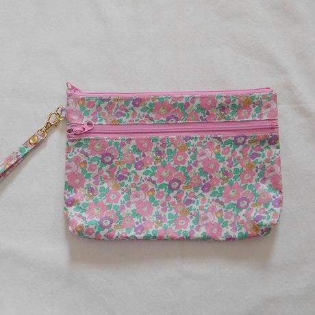 リバティ 花柄二段ポーチ ピンク