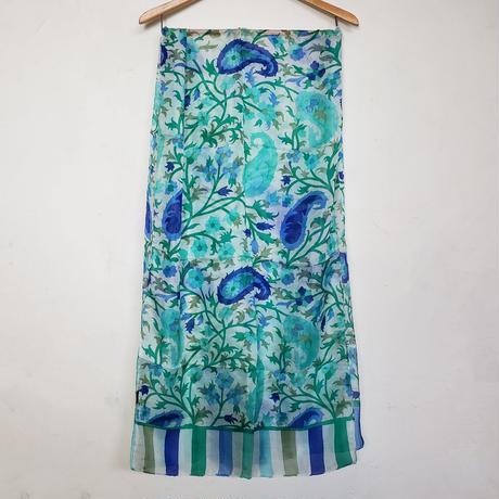 ストール100%シルク  Silk stole- foulard en soie / blue-vert