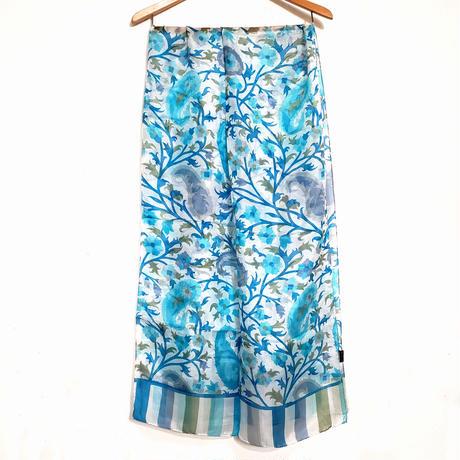 ストール100%シルク  Silk stole - foulard en soie / blue