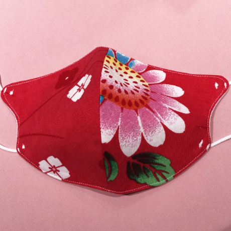 浴衣マスク(赤の花模様) Japanese yukata  mask- flower on red