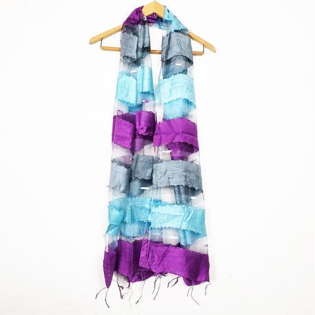 シルクコットン ストール・silk cotton stole - foulard / gris-ciel-violet