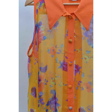 MODELLI Flower Pattern chiffon sleeve less shirt