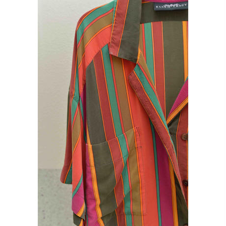 80'S ELLEN TRACY Strips Silk Shirt