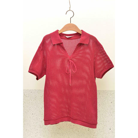 60'S Eminence Mesh Design Pullover Polo Shirt