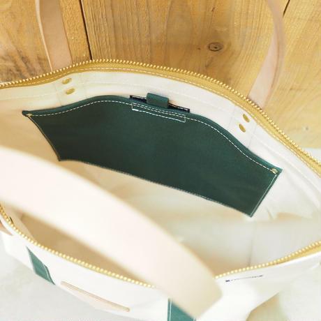 帆布W.L.トート(ホワイト×ダークグリーン×キャメル)
