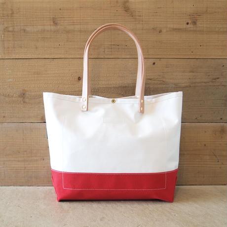 Two Fabrics Mトート(ホワイト×レッド)