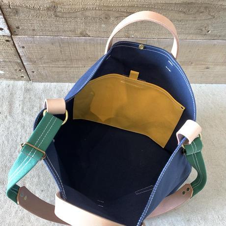 帆布LIFE Bag(ネイビー×グリーン×マスタード)
