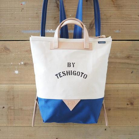 帆布ステンシルリュック(ホワイト×ブルー)