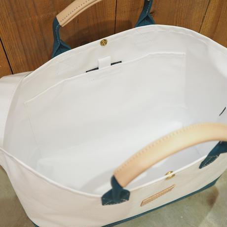 Two Fabrics Bag(ホワイト×シアンブルー)