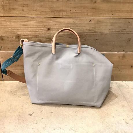 帆布LIFE Bag(グレー×シアンブルー×カーキ)
