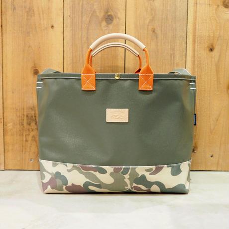 Two Fabrics Bag(カーキ×カモフラージュ×オレンジ)