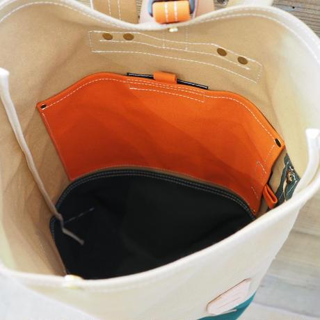 帆布BAGPACK(サンドベージュ×ダークグリーン×オレンジ)