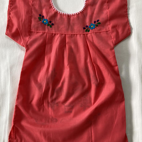 【3-4歳サイズ】キッズ メキシカン刺繍のワンピース(ピンク)