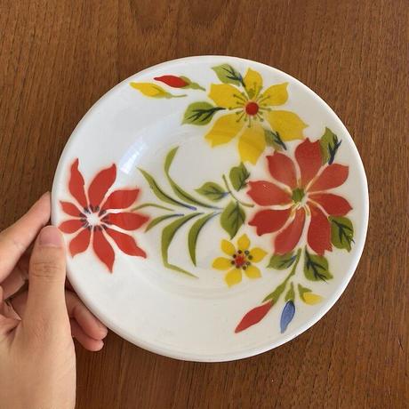 タイのホーロー 花柄飾り皿