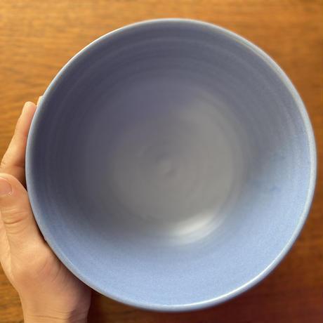 ネパールの青いストーンウェアボウル(L)