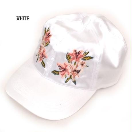 百合の花刺繍サテンCAP