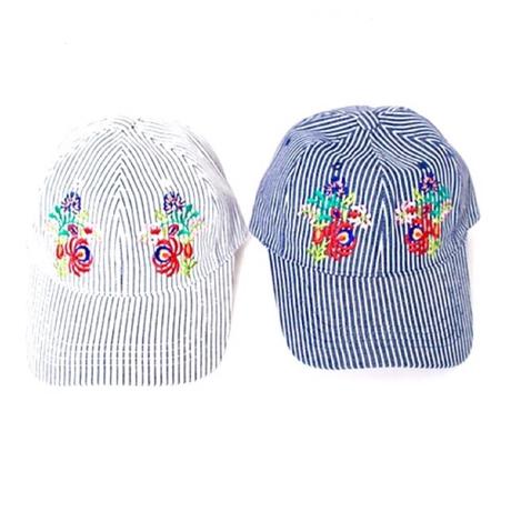 刺繍ヒッコリー柄CAP