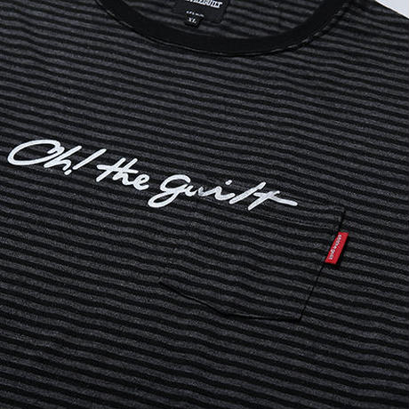"Oh!theGuilt | ""SCRIPT LOGO""WOOL BLEND POCKET BORDER L/S T-SHIRT(ブラック/グレー)"