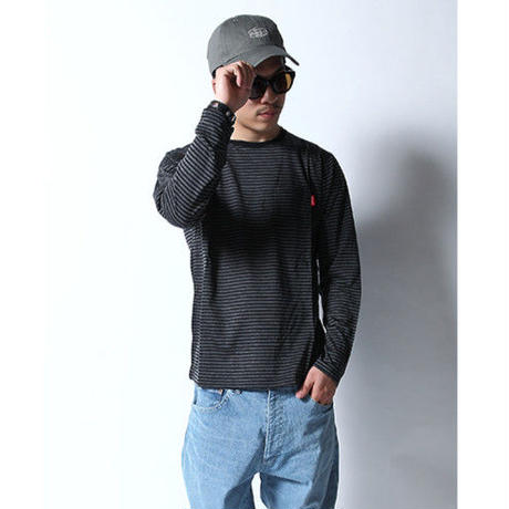 Oh!theGuilt | WOOL BLEND POCKET BORDER L/S T-SHIRT(ブラック/グレー)
